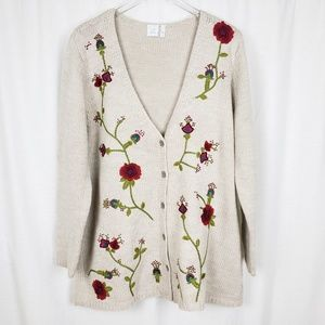 J Jill Wool Embroidered Floral Cardigan